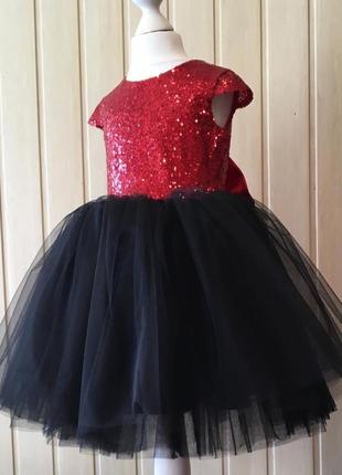 Платье пышное бальное с пайетками мики минни маус с бантом нарядное