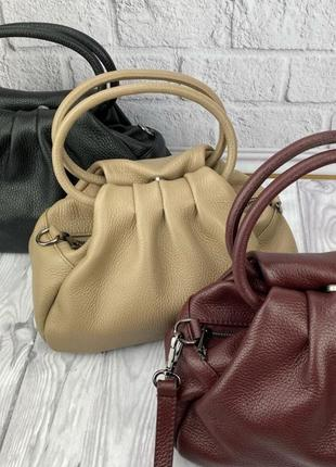 Сумка кожаная натуральная кожа бордо беж черна сумочка небольшая кроссбоди италия женская