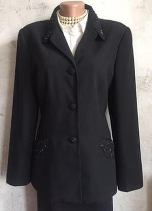 Нарядный пиджак, жакет, пуговицы, бисер, вышивка