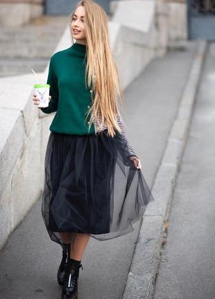 Стильный теплый костюм юбка фатин кофта свитер кашемировый изумрудный