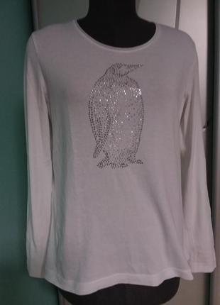 Белый лонгслив с декором стразами пингвин