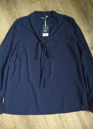 Новая темно-синяя рубашка блузка с бантом esmara, р. 36/38/10  (наш 44-46)