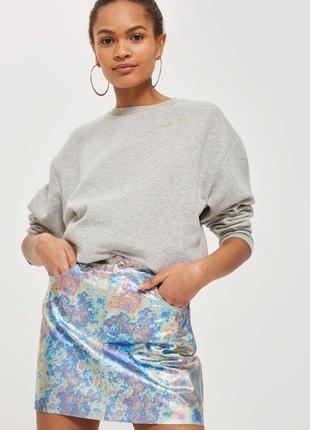 Бензиновая голографическая джинсовая юбка topshop