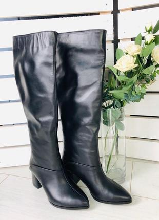 Lux обувь! идеальные высокие классические натуральные сапоги на каблуке