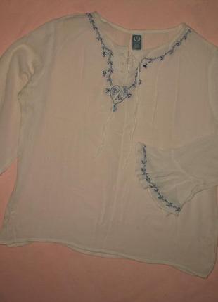 Красивая свободная белая блузка на рост 146/152