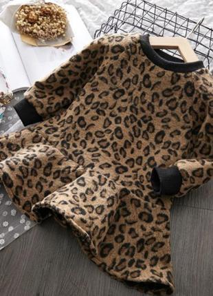 Платье тёплое леопардовое флис