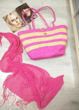 Фирменная женская соломенная сумка. летняя пляжная сумка. платок в подарок.