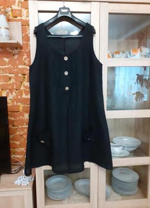 Роскошное льняное с карманами платье большого размера италия