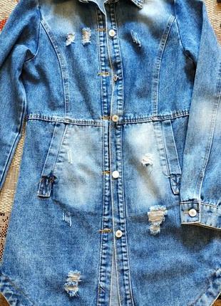 Плащ джинсовый пиджак анорак тренч