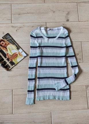 Нежная кофта свитер в рубчик полоску m l