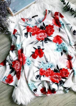 Шикарная блуза в цветочный принт, рукав волан quiz