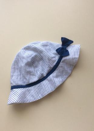 Летняя панамка george из натуральной ткани для девочки 3-6 мес.