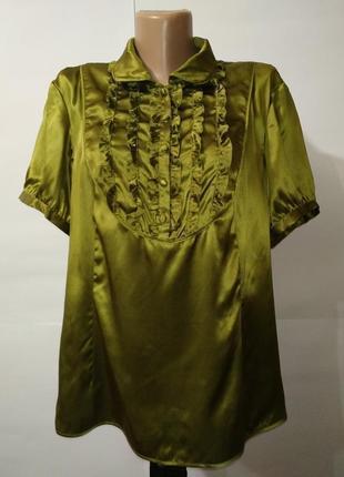 Блуза шикарная натуральная шелковая с рюшами большой размер monsoon uk 18/46/xxl
