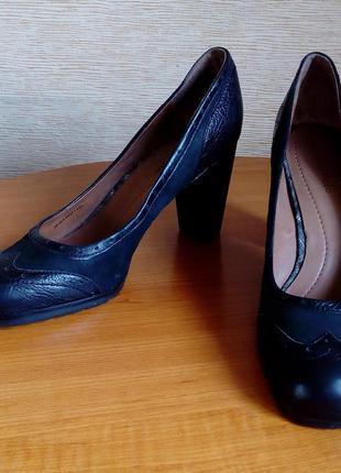 Оригинальные кожаные женские туфли marc o'polo чёрного цвета, 42 размер на стельку 27 см