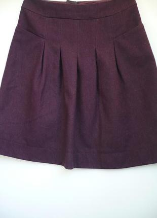 Юбка шерстяная с карманами в складочку