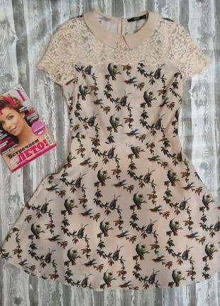 Супер платье с кружевными вставками 46 размер большой выбор модной одежды