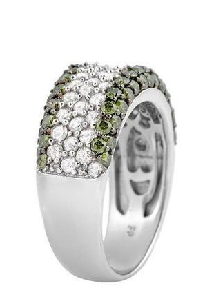 Золотое кольцо с зелеными и белыми бриллиантами 2,10 карат 17,5 мм. белое золото