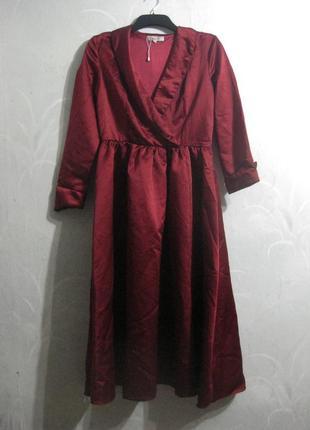 Платье известного брэнда dressv бордо марсала бургунди красное длинное атлас вамп