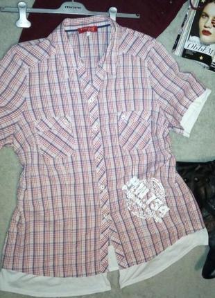 Рубашка в клетку с трикотажными оборками