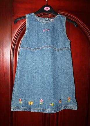 Джинсовое платье, сарафан, девочке 7-8 лет от youngster