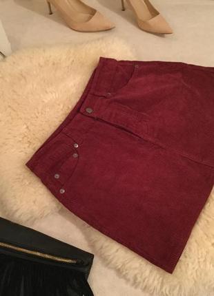 Крутая вельветовая юбка цветом марсала от asos на р. 38/40...👠🌹💄