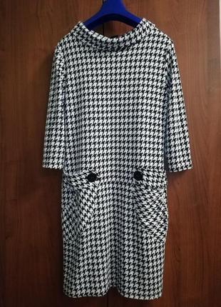 """Потрясающее трикотажное качественное платье в """"гусинную лапку"""" с карманами"""