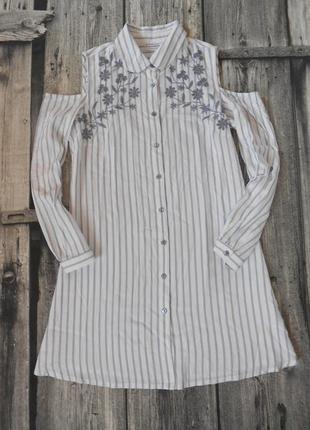 Стильное платье-рубашка с вышивкой и открытыми плечиками \женская туника на с размер