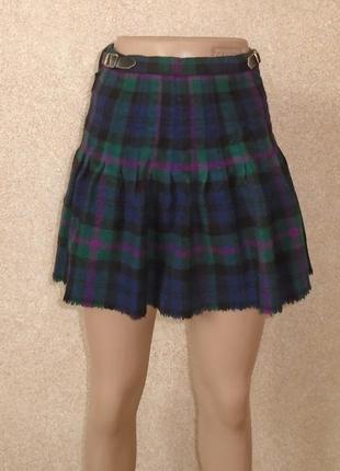 Теплая юбка мини на запах в складку/спідниця міні з запахом