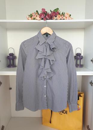 Рубашка в полоску с рюшами ralph lauren