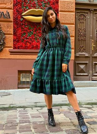 Стильное трендовое платье миди в клетку теплое плаття в клітинку тепле