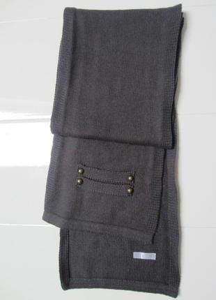 Зима. шерстяной серый шарф sela.