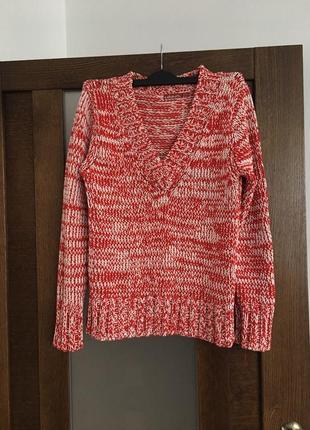 Очень мягенький свитер,зимний,красный,большая вязка,oversize