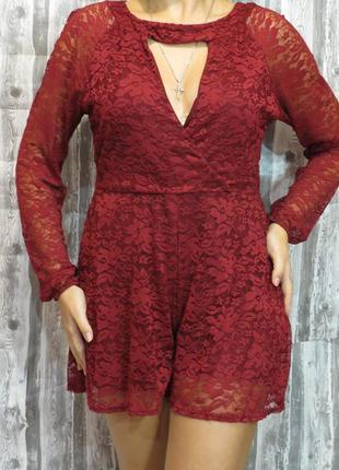 Нарядный комбинезон с шортами и длинным рукавом цвет марсала boohoo размер 50-52