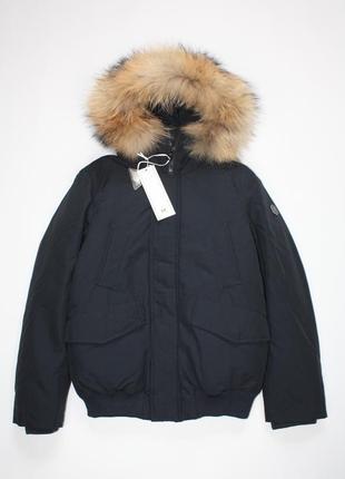 Куртка пуховик mixture италия с натуральным мехом темно-синяя 9-11 лет