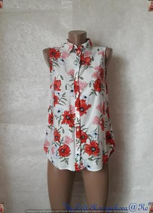 Фирменная h&m яркая нарядная вискозная блуза в яркие красные маки, размер с-ка