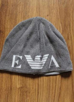 Стильная унисекс шапка на мелкую голову люкс бренд с большим лого giorgio armani