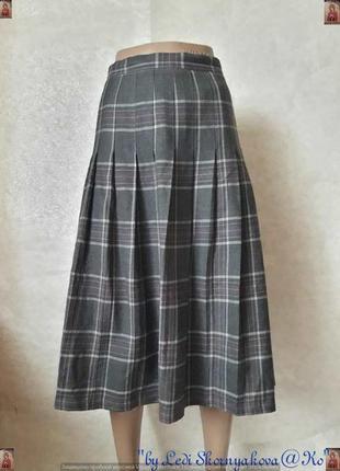 Фирменная ewm плессированная юбка миди в серую клетку со 100% шерсти, размер 5хл-6хл