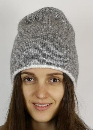 Двойная шапка бини женская меринос серая ручная работа