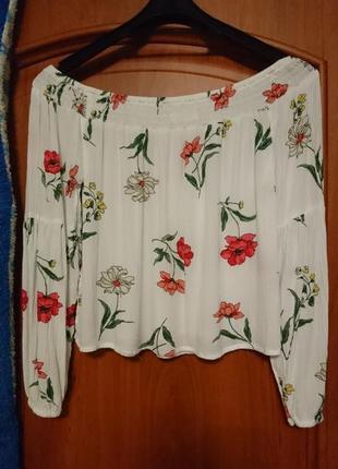 Красивая натуральная блуза с открыми плечиками, топ, с