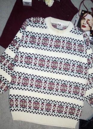 Мегакрутой теплый свитер /скандинавский узор/объемные рукава/оверсайз