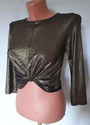 Бронзовая короткая стильная трикотажная блуза* топ atmosphere ( размер 36-38)