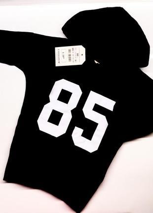 Детское чёрное с белым спортивное платье туника девочки накатка с номером капюшон разрезы