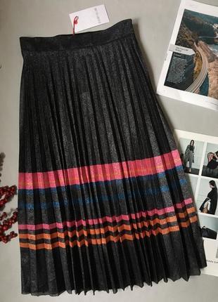 Шикарная юбка плиссе с люрексом с биркой