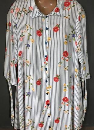 Удлиненная блуза/туника с цветочным принтом