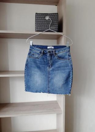 Джинсовая юбка завышенная талия