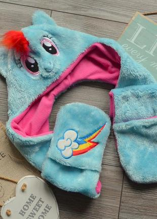 Шапка шарф с перчатками пони my little pony 5-8л