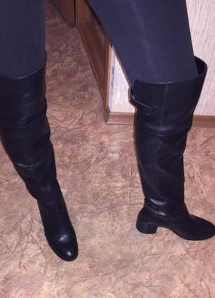 Кожаный сапоги ботфорты zara