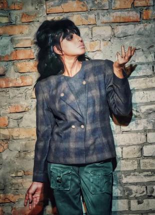 Шерстяной пиджак жакет блейзер шерсть в клетку maribelle pret a porter de lux