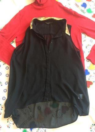 Шифоновая нарядная блуза воротник в пайетки