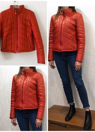 Красная натуральная кожаная куртка пуховик из кожи на зиму, на осень